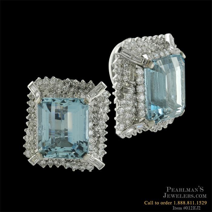 Estate Jewelry 18kt White Gold Aquamarine And Diamond Earrings