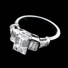 Sasha Primak platinum and diamond engagement ring with .82ctw of full-cut side diamonds. Ready to accentuate any size and shape center stone you desire.