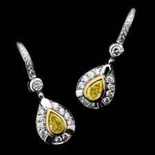 Michael Beaudry 18kt. yellow gold and platinum pear shaped earrings