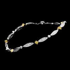 Michael Beaudry platinum and 18kt. yellow gold diamond bracelet. Set with 1.05ctw. in white diamonds and 1.17ctw. in fancy yellow diamonds. Call for price and availability.