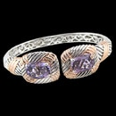 A light amethyst sterling silver and 18K gold bracelet from Bellarri. The size of the amethyst is 12.55tcw. The size of the bracelet is 20mm.