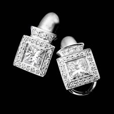Chris Correia platinum diamond earrings mountings with 1.81ctw princess cut centers with .29ctw pave diamonds on bezel.