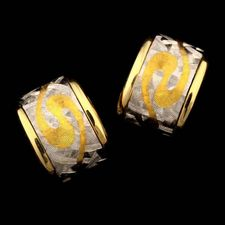 A wonderful pair of 18kt, 24kt, and platinum mini swirl impressionist hoop earrings from Michael Bondanza.