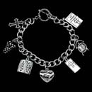 "This is the ""Answered Prayer  Bracelet.  It is sterling silver and includes 7 charms, a cross, grapes, a tablet representing the 10 comandments, a love your neighbor heart, a cross on a door, a clock and a journal."