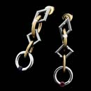 Steven Kretchmer platinum and 18kt. gold Long Jazz tension set earings.  Priced in all Platinum.