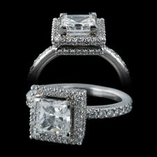 Michael B. platinum pave and halo engagement ring