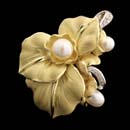18kt yellow and white gold floral design pin/pendant from Annamarie Cammilli with white pearls and diamonds
