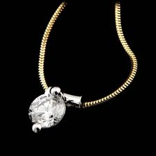 Whitney Boin 18kt yellow gold and platinum diamond pendant mounting sold with snake chain.