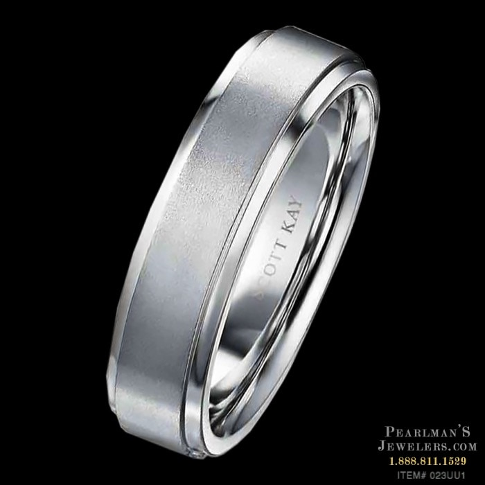 7b836a71e A Scott Kay Mens Platinum 6mm Step Up Wedding Ring. This d..