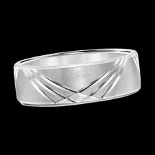 A smart looking mens 14k white gold Scott Kay mens wedding band. The mans ring is from the Mens Heaven�s Gates collection. The style is subtle with a modern touch. This ring can be made is 18k gold and platinum. Call or email for prices on other metals.