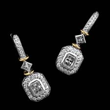 Michael Beaudry platinum and 18KT gold diamond earrings