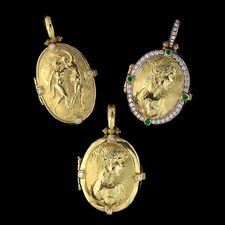 Three of the classic enhancer lockets in 18kt yellow gold; two just diamond and one with diamond and emeralds.