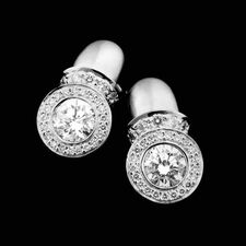Chris Correia ladies platinum diamond earrings for .50ct round centers with pave set diamonds on bezel.