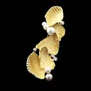 A gorgeous 18kt yellow gold pearl and diamond pin by Susan Helmich. This pin measures 50mm x 16mm.