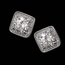 Alex Soldier Platinum or 18kt white gold diamond square halo earring
