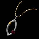 Steven Kretchmer platinum and Gold Sweet Mango design necklace with Ruby.  This piece is priced without the chain.