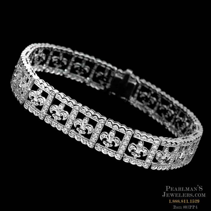 Beverley K 18kt White Gold Fleur De Lis Diamond Bracelet