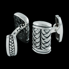 Mens sterling silver basket weave cuff links from Scott Kay Sterling.