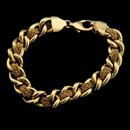 18kt yellow gold interlace 7.5 inch bracelet with a large lobster claw, designed by Yuri Ichihashi.