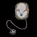 A very nice 14kt white gold cameo with diamond necklace pin and attached eastern star  pin. The piece is in mint shape and measures 33 x 26mm.  Circa 1920's