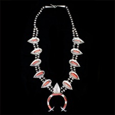 Estate Jewelry Native American coral necklace