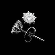 Sasha Primak platinum diamond eight prong earring. These pieces are very comfortable and sit flat on the ear. These can be made from .50ctw and larger.