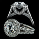 Pave diamond inside out engagement ring from Durnell.  Diamond detailing inside and out make this popular ring extra special. It features SOLO pave' setting by Durnell, which uniquely brings out the fiery beauty of each brilliantly cut pave diamond.