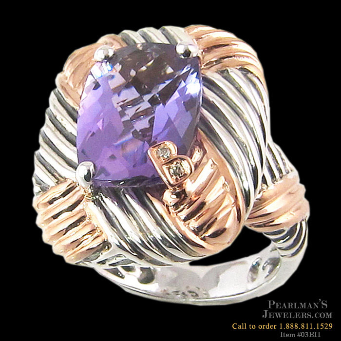 bellarri jewelry amethyst sterling silver and 18k gold ring