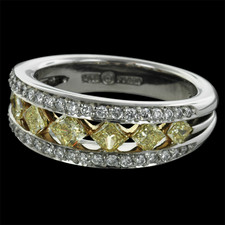 Peter Storm's Platinum Naked Diamonds� ladies wedding band set with seven graduated perfectly cut natural fancy yellow princess cut diamonds, set point to point, finished by two sparkling rows of round diamonds.