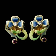 Nouveau Collection's 18kt yellow gold blue and green enamel earrings with one diamond (.12ct) and one ruby in each earring.