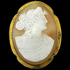 Estate Jewelry 9K gold antique cameo brooch