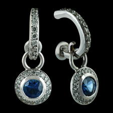 Bridget Durnell blue sapphire and diamond halo earrings