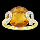 A gorgeous Bellarri 18K gold citrine ring. The citrine has a weight of 5.90ctw. The total diamond weight is 0.12.