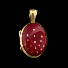 Charles Green 18kt y.g. Charles Green Red Enamel locket