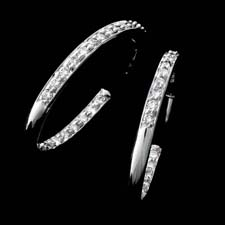 Honora's classic diamond pave hoop earring. This set contains 1.25ctw of beautiful diamonds set in pave down the front and up the back. This set measures 1.5 inches in length. Available in a variety of sizes from .75 inches and larger.