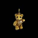 What a adorable 18kt gold baby bear with diamond bow tie and sapphire eyes. The arms, legs, and head moves. This piece is 7/8'' in height and solid. Made in the USA and solid. Available in a 1 1/8'' height.