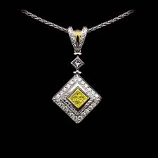 Michael Beaudry platinum and diamond princess cut pendant with fancy yellow ( .67ct)   and white diamonds (.43ct), approximately 32.00mm in length and 17 3/4 in width from the widest point.  Chain not included check out item 01B3 for chain.