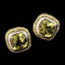 Ladies 18kt. green gold SeidenGang earrings with a white gold bezel. The center stone is a large lemon citrine and the earrings are accented by a .25ctw in diamonds.