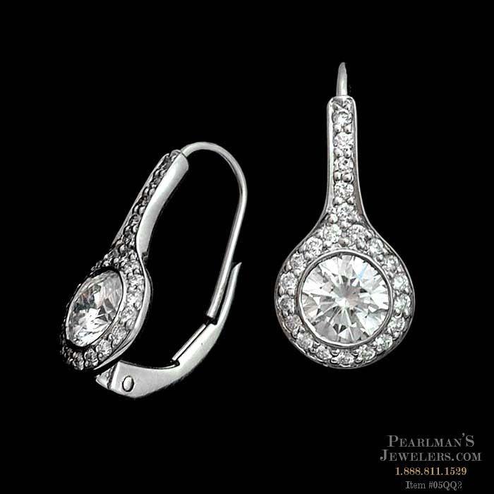 Ritani Platinum And Diamond Pave Drop Earrings