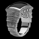 A Scott Kay Mens layered Brushed Armor Samurai Ring. This Scott Kay ring features a black onyx cabochon stone and brushed silver carving, with layered design inspired by ancient samurai armor.