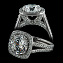 Durnell's cushion frame, split shank solitaire engagement ring with SOLO pave diamond setting inside and out.  Gives unique advantage to each fiery, brilliant cut diamond.  This is the mounting only price, please call for quotes on complete ring.