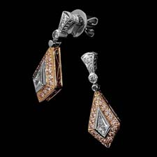These beautiful kite-shaped platinum and 18k rose gold dangling earrings by Michael Beaudry feature .25ctw in center stone diamonds (each) and .41ctw in round brilliant side stones. Call for price and availability.
