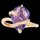 Unique amethyst 18K gold ring from Bellarri. The Dimensions of the head of the ring is: 15mm x 11mm. The amethyst has a weight of 4.70ctw and the diamonds have a total carat weight of 0.10.
