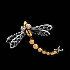 A lovely 18kt gold and platinum dragonfly pin from Michael Bondanza, set with .06ct of diamonds.
