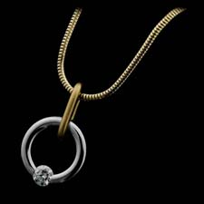 Steven Kretchmer platinum and Gold round Jiggley bail style necklace.  This piece is priced with .25ct. round center, but could be set with ruby or sapphire. Price does not include chain.