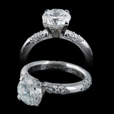 Michael B. elegant rounded crown lace platinum engagement ring