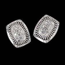Platinum and diamond earrings from the Michael B Balarina collection. This very pretty setting contains .34ctw of pave set diamonds.