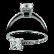 06QQ1 - A classic platinum micro pave engagement ring set with .20ct of diamonds and is 1.8mm in width. This ring is set with a CZ in the center and will need a 5.5mm or approximately 1.00ct princess cut center stone. Please see our diamond section to find the perfect center stone. Size 6.25