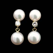 Pearl Collection Double Pearl and Diamond earrings