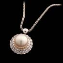 18kt white gold pendant and necklace with an 8.5mm golden pearl and .46cts of diamonds